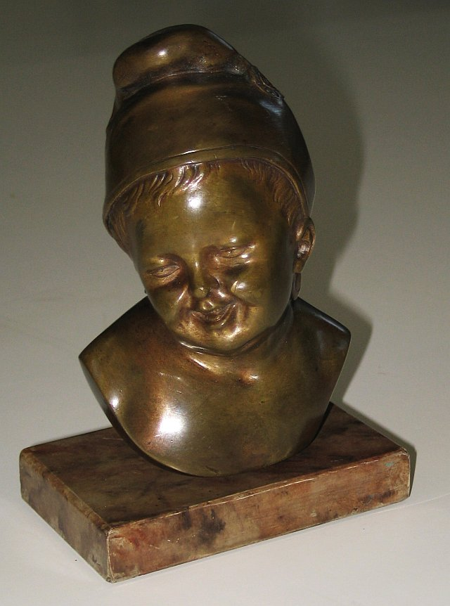 French Bronze Head of Child