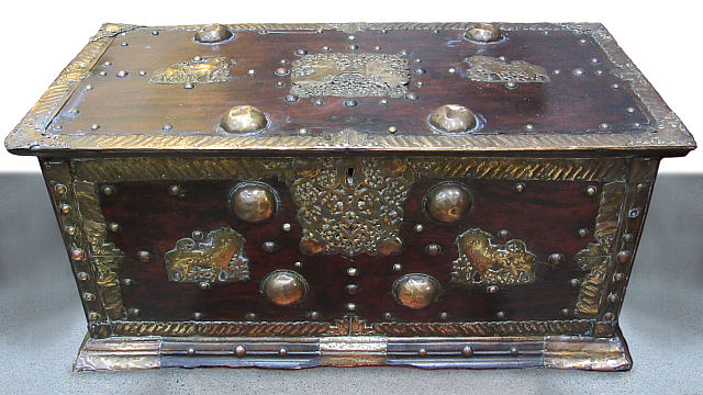 Antique Brass Embellished Chest