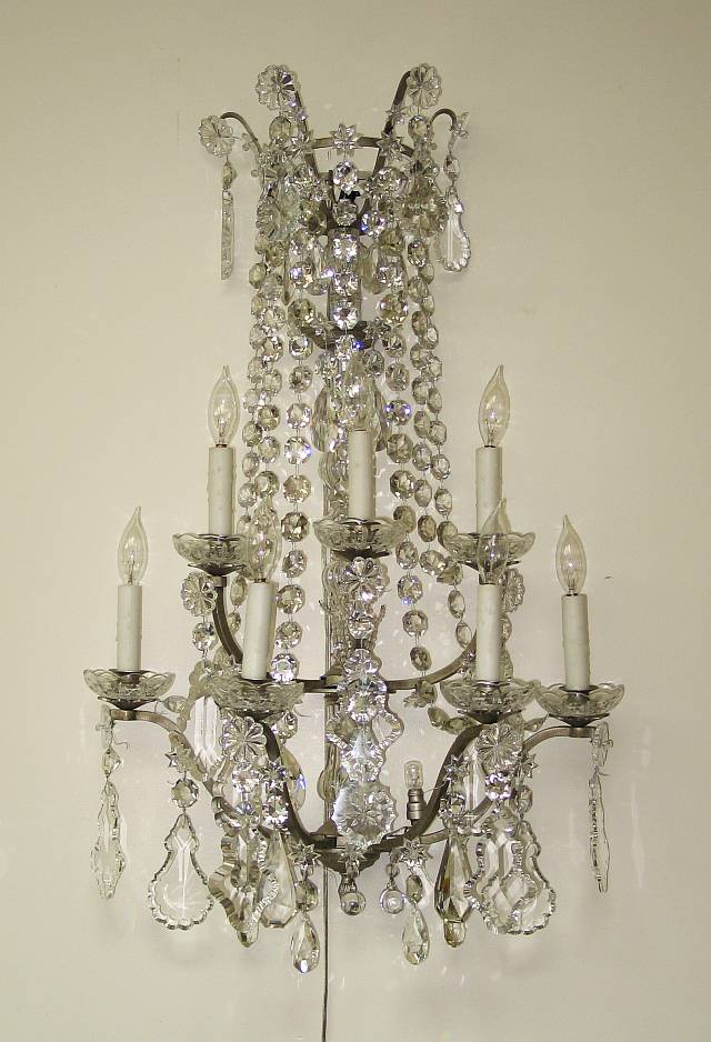 Pair of French Crystal Sconces