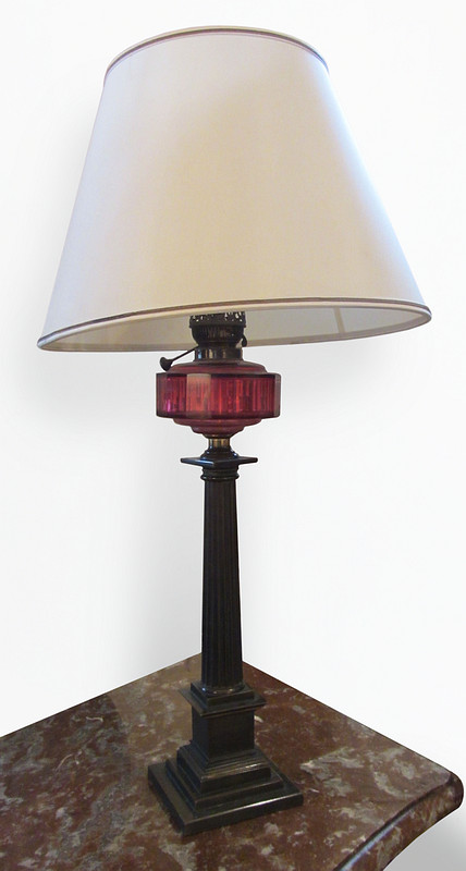 Cranberry Glass and Brass Lamp