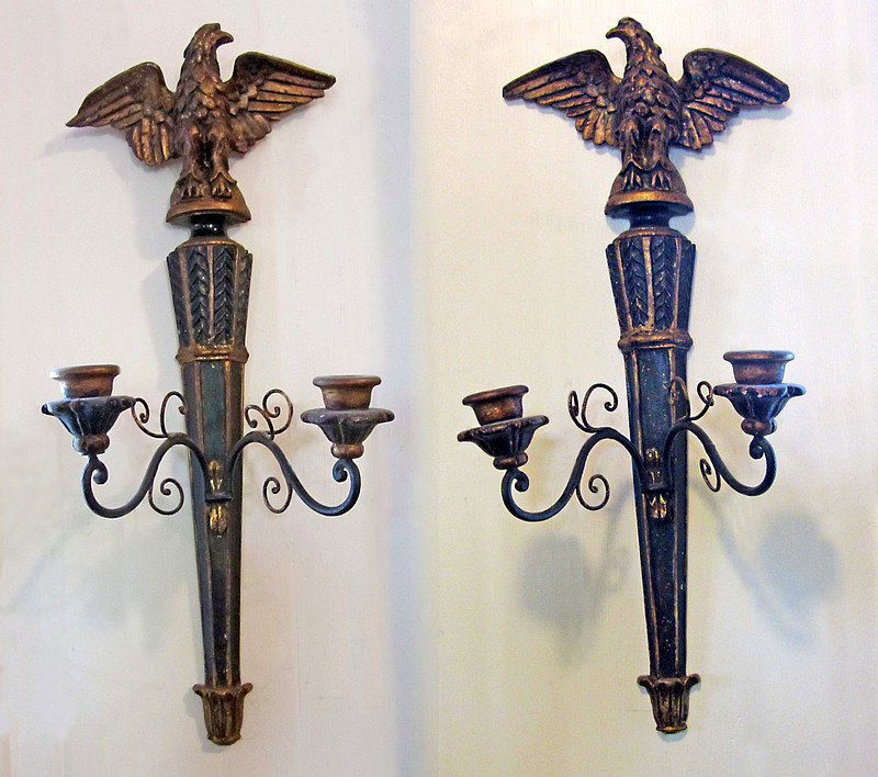 Pair of Eagle-topped Candle Sconces