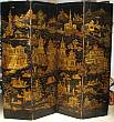 Pair of Four Panel English Chinoiserie Screens